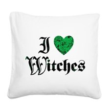 I Love Witches Square Canvas Pillow