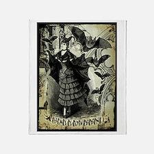 Victorian Halloween Bat Collage Throw Blanket