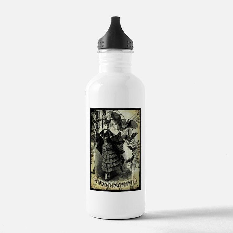 Victorian Halloween Bat Collage Water Bottle