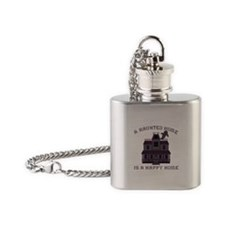 Haunted Home Happy Home Flask Necklace