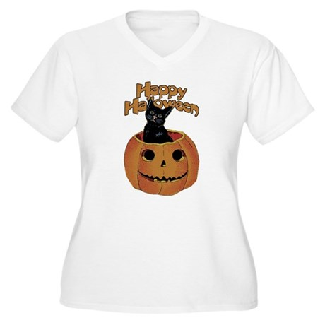 Vintage Halloween Cat In Pumpkin Women's Plus Size