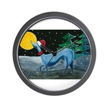 Christmas Italian Greyhound Wall Clock