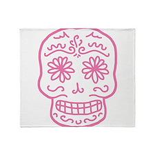 Pink Sugar Skull Throw Blanket