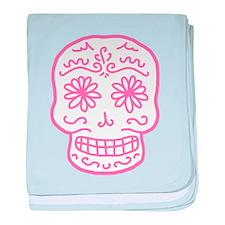 Pink Sugar Skull baby blanket