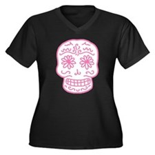 Pink Sugar Skull Women's Plus Size V-Neck Dark T-S