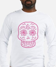 Pink Sugar Skull Long Sleeve T-Shirt