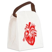 Human Heart Red Canvas Lunch Bag