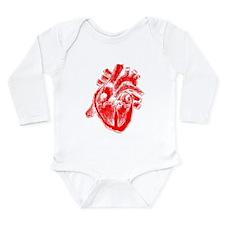 Human Heart Red Long Sleeve Infant Bodysuit