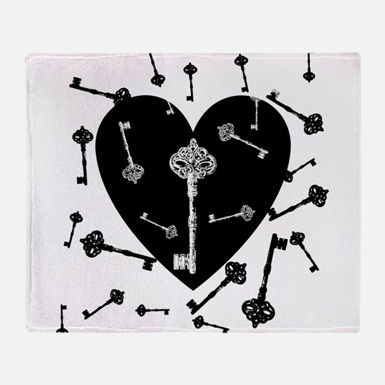 Heart And Keys Throw Blanket