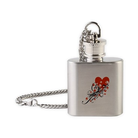 Heart With Skulls And Swirls Flask Necklace