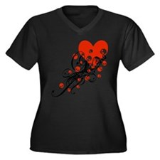 Heart With Skulls And Swirls Women's Plus Size V-N