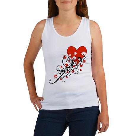 Heart With Skulls And Swirls Women's Tank Top