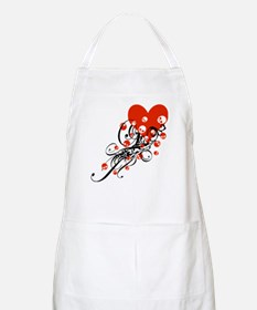 Heart With Skulls And Swirls Apron