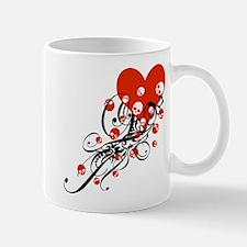 Heart With Skulls And Swirls Mug