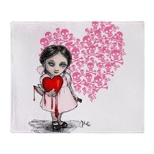 Malicious Valentine Girl Skull Heart Throw Blanket