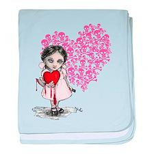 Malicious Valentine Girl Skull Heart baby blanket