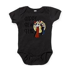 Retro Happy New Year Baby Bodysuit