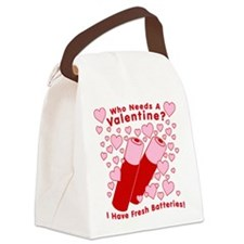 No Valentine Fresh Batteries Canvas Lunch Bag