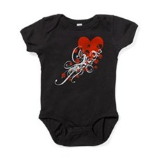 Heart With Skulls And Swirls Baby Bodysuit