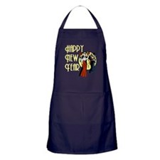 Retro Happy New Year Apron (dark)