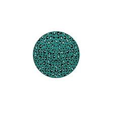 Teal Blue Leopard Print Pattern Mini Button