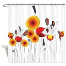 Contemporary California Poppies Shower Curtain