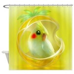 Whimsical Candy Color Pet Cockatiel Shower Curtain