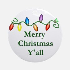Merry Christmas Y'all Ornament (Round)