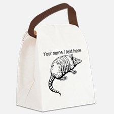 Custom Armadillo Sketch Canvas Lunch Bag
