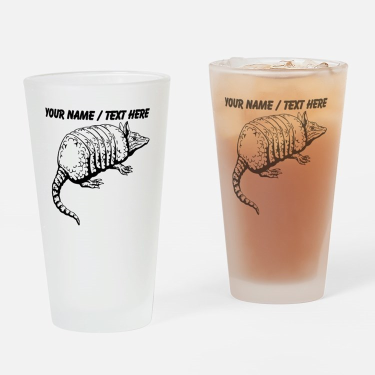 Custom Armadillo Sketch Drinking Glass