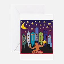 Detroit Skyline Mega Color Greeting Card
