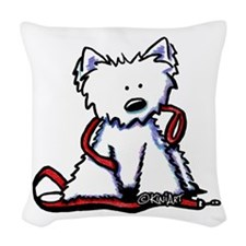Westie With Leash Woven Throw Pillow