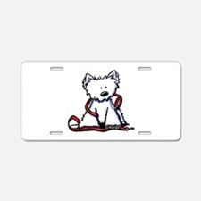 Westie With Leash Aluminum License Plate