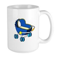 blue themed baby carriage graphic Mug