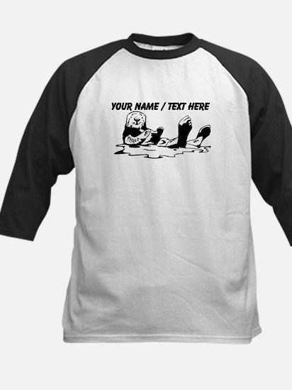 Custom Sea Otter Sketch Baseball Jersey
