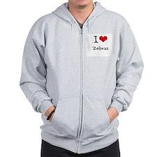 I love Zebras Zip Hoodie