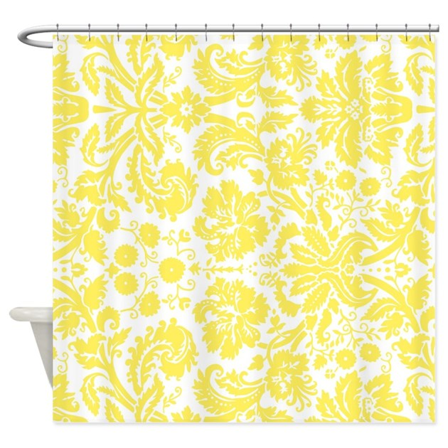 Yellow White Damask Shower Curtain By Dreamingmindcards