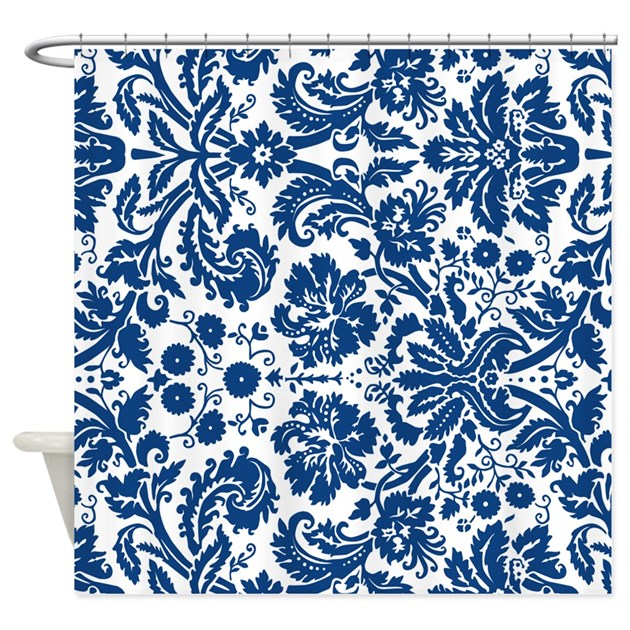 Navy Blue White Damask Shower Curtain By Dreamingmindcards