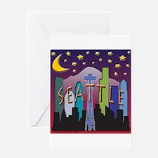 Seattle Skyline Mega Color Greeting Card
