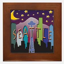 Seattle Skyline Mega Color Framed Tile