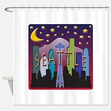 Seattle Skyline Mega Color Shower Curtain