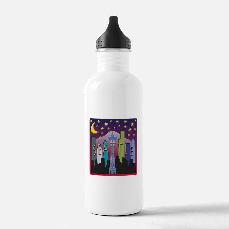 Seattle Skyline Mega Color Water Bottle
