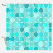 Aqua Blue Circles Geometric Shower Curtain