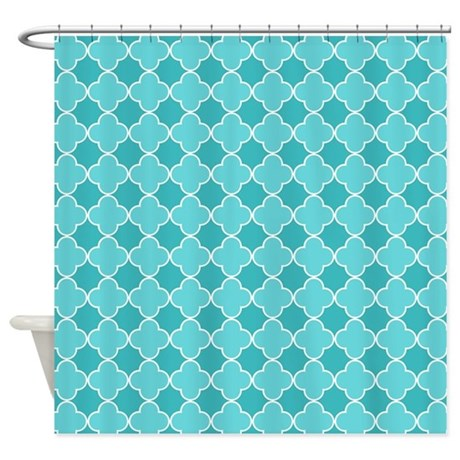 Teal Blue White Quatrefoil Shower Curtain By Dreamingmindcards