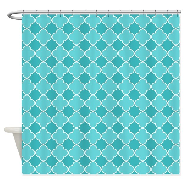 Teal Blue White Quatrefoil Shower Curtain By DreamingMindCards