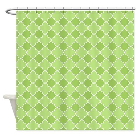 Lime Green Quatrefoil Shower Curtain By Dreamingmindcards