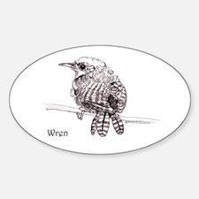 Little Brown Wren Sticker (Oval)