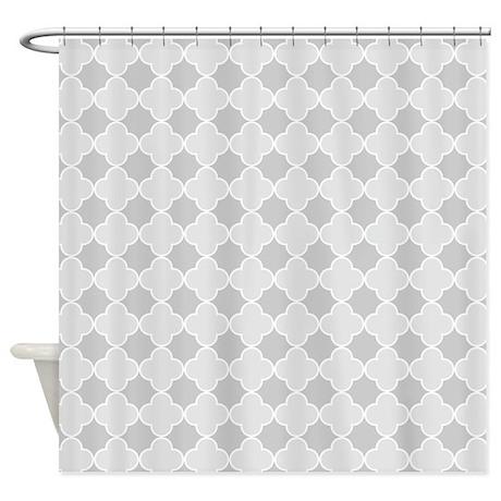 grey white quatrefoil shower curtain by dreamingmindcards. Black Bedroom Furniture Sets. Home Design Ideas