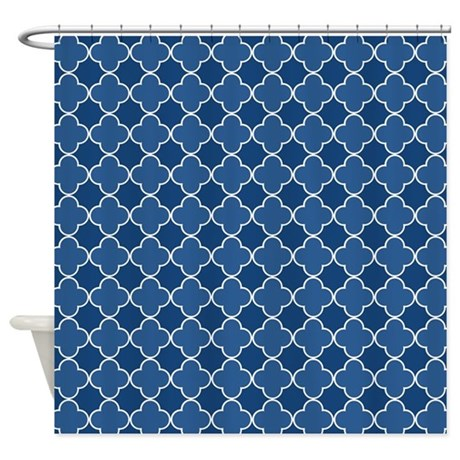 Navy Blue White Quatrefoil Shower Curtain By Dreamingmindcards