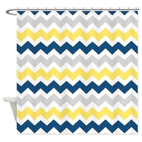 Yellow Blue Grey Chevron Stripes Shower Curtain